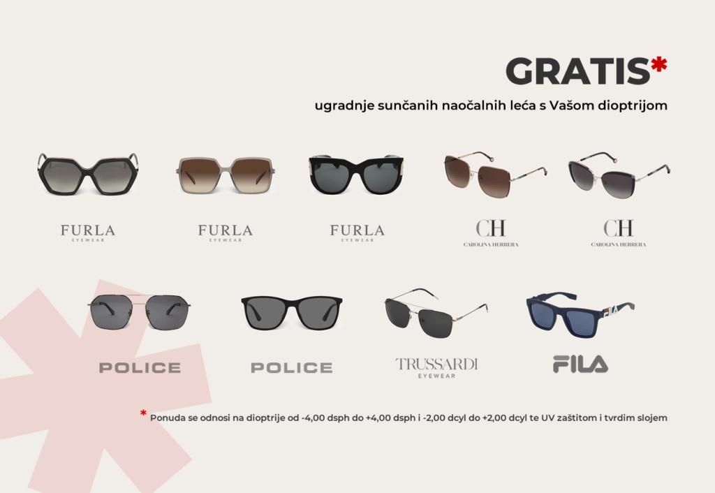 GRATIS ugradnja sunčanih naočalnih leća! *NOVI MODELI*